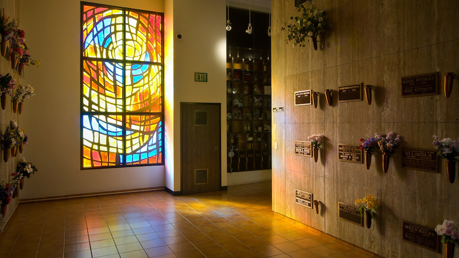 A beautiful stained glass window in the Funeral Home.