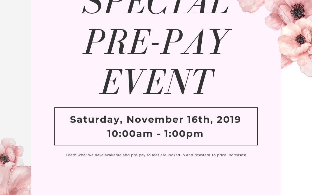 November Pre-Pay Event